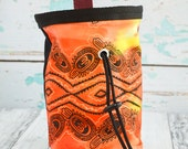 African Tribal Rock Climbing Chalk Bag - Red Orange Yellow Black Drawstring Pouch Fleece Lined Climbing Chalk Bag -  Ready to Ship