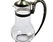 Glass Pitcher, Silverplate, Albert Pick, Art Deco, Hotel Racine, 1920s