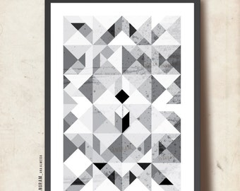 """Geometric Print. Affiche scandinave. Abstract Art A3. Black & White. """"Reflections of Me"""", Geometric print, TANGRAMartworks"""