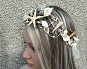 Beach wedding crown, Starfish  Hair Accessories, Seashell hairpiece, bridal hairpiece, Mermaid tiara, Beach Bridal Hair