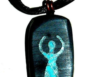 The Goddess wooden pendant with stone inlay work Pagan Wiccan