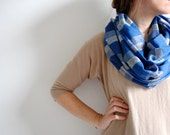 Spring Scarf - Blue Gold Silver Scarf for Her - Cotton Scarf - Women spring fashion - Boho Scarf