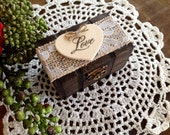 Rustic Ring Bearer Pillow, Box, Personalized.