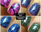 Full Set of 4 Holographic Polishes SPRING COLLECTION :  Custom-Blended Indie Glitter Nail Polish / Lacquer