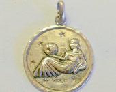 Vintage Sterling Silver Virgo Zodiac Charm / Pendant Mexico Signed