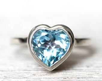 Heart ring - sky blu topaz - gemstone open back pattern-ready to ship