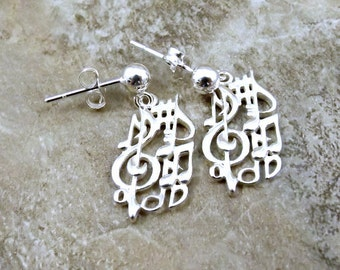 Sterling Silver Treble Clef with Music Notes Charms on Sterling Silver Ball Post Stud Earrings -1681