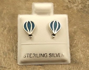 Sterling Silver and Turquoise Hot Air Balloon Stud Earrings - 1452
