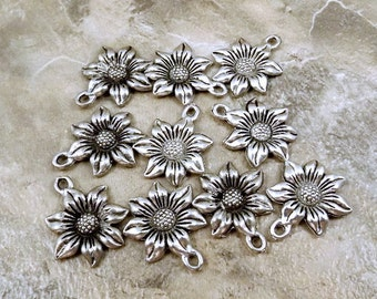 Ten Pewter Sunflower Charms - Free Shipping in the US - ( 0902 )