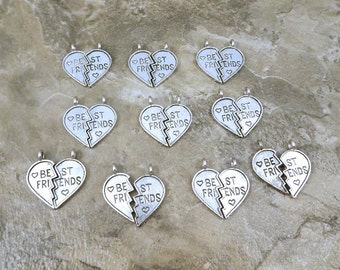 10 Pairs of Pewter Best Friend Heart Charms - Free Shipping in the US - 0988