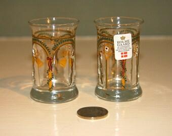 2 Vintage HolmeGaard Shot Glasses-Highly decorated