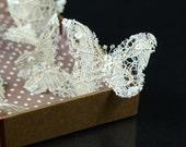 Beige Lace Butterfly Hair Pins, Wedding Hair Accessories, Bridal Hair pins, Bridal Headpieces, set of four ( 4)
