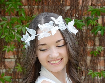 White Lace Butterfly Crown, Wedding Bridal Halo, Butterfly Hair Piece , Bridal Hair  Wreath , Boho Wedding Headpiece
