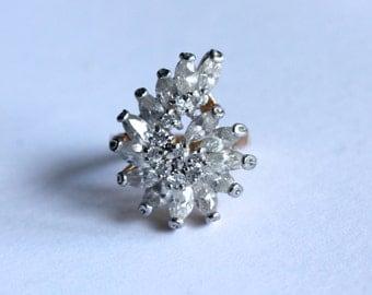 50% OFF Stunning 14K gold plated Vintage Crystal Cluster Ring