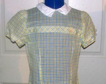 1960s Drop Waist Girl's Dress - Handmade - Sheer - Button Up Back