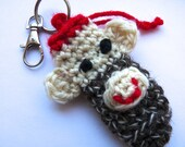 Sock monkey lip balm holder key chain or thumb drive holder keyring