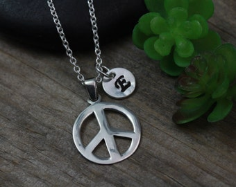 Peace Sign Necklace. sterling Silver peace with initial or birthstone, Peace Necklace, Peace Sign, Silver Peace sign Necklace. 783