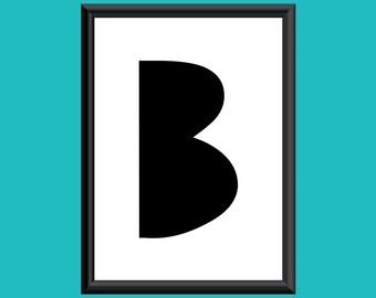 Typography DIGITAL PRINT Monogram Initial Wall Art Sybil Letter B 5x7