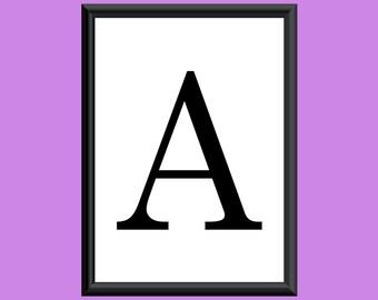 Typography DIGITAL PRINT Monogram Initial Wall Art Century Letter A 5x7