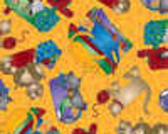 Quilting Sewing Knitting Cats on Yellow Cat Fabric Retired Out of Print FQ