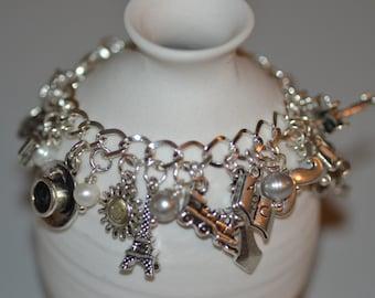 Hercule Poirot Charm Bracelet, Pearls, Agatha Christie Mystery Detective Fiction
