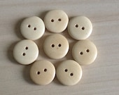 Small Wooden Buttons 15mm, Light Wood,  Pack of 30,  2- Hole, Round, Sewing, Craft, Scrapbooking, Button Art