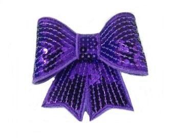 Purple Hair Bow, Sequin Hair Bow, Teens Purple Hairbow, Girls Hair Clip, Womens Hair Accessory, Sparkle Bow