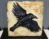 "Black Crow - original 12""x12"" textured painting"