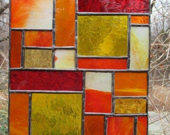 Stained Glass Panel of Orange, Red, Yellow