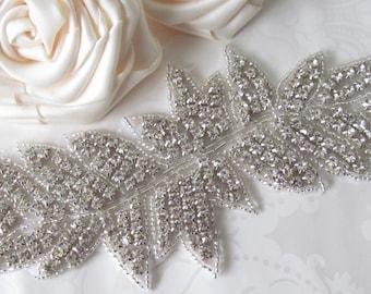 Rhinestone Applique / Bridal Applique /  Beaded Applique / Feather Applique Large (RA-16)