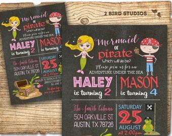 Mermaid pirate invitation - Sibling birthday invitation - Mermaid pirate pool party invitation - Twins birthday invitation - chalkboard DIY