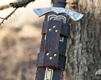 Sword Leather Sheath with Etched Brass Accents; Viking's Armor