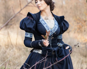 "Medieval Cotton Fantasy Dress and Vest Costume ""Lost Princess""; Dress and Velvet Vest"