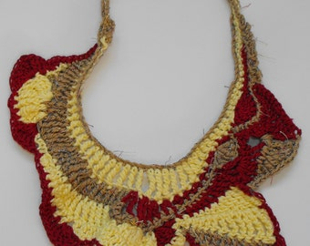 Freeform Crochet Necklace Collar Neckwear Neckpiece Fiber Jewelry Wearable Fiber Art OOAK modern contemporary -  Inspired of my dreams.