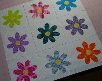 Set of 9 Flower Applique Quilt Blocks, Bright Fabrics