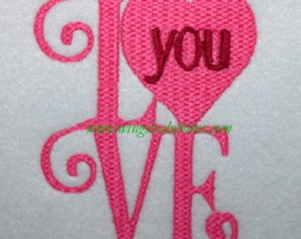 Valentines Day Love you digitized Machine Embroidery Design