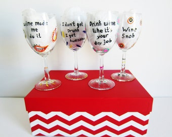 4 piece funny wine glass gift set hand painted wine glasses with decorative photo box wine made me do it wine snob i dont get drunk awesome