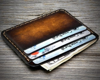 Minimalist Leather Wallet for Men. 6 Credit card Pockets Holder. Thin and small sized, carefully constructed by hand.