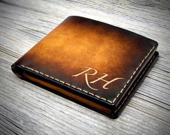 Personalized Coin Pocket Leather Wallet / Aged Leather Wallet for him / Monograms Wallet / Mens Leather Wallet