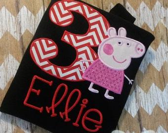 Peppa Pig Birthday Custom Tee Shirt - Customizable -  Infant to Youth 252