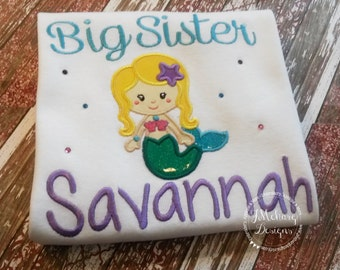 Big Sister Mermaid Custom Tee Shirt - Customizable -  Infant to Youth 86