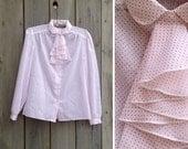 Vintage blouse | Deadstock red + white polka dot secretary blouse