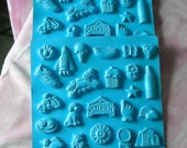 Vintage Lot of 6 Blue Flexable Plastic Candy Molds for Children, 22 Shapes