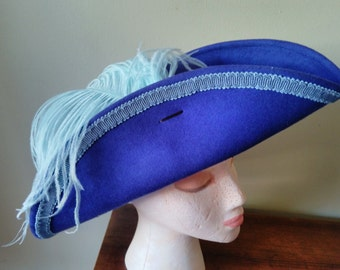 Bicorn style pirate hat blue with light blue trim