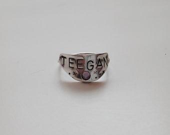 birthstone nameplate ring
