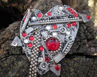 Steampunk Heart Pin