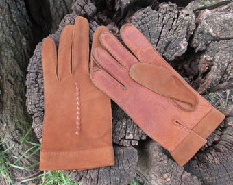 Vintage Leather Suede Gloves
