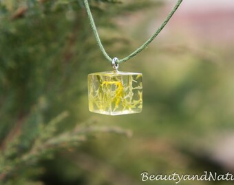 Real lichen square necklace - unique woodland crystal resin lichen. OOAK necklace. Botanical jewelry. Rustic wedding necklace. Gift for her
