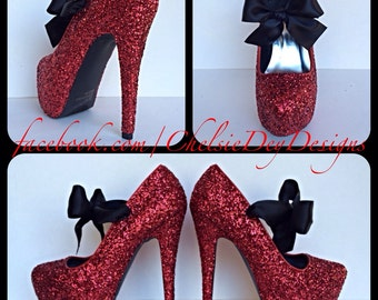 Scarlet Red Glitter Pump High Heels with Black Bows