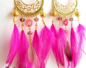 Chandelier Dangle Feather Earrings with Mother of Pearl